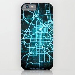 Shreveport, LA, USA, Blue, White, Neon, Glow, City, Map iPhone Case