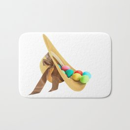 Colored Easter Eggs and woman hat Bath Mat
