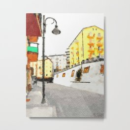 Glimpse with buildings and street lamp Metal Print