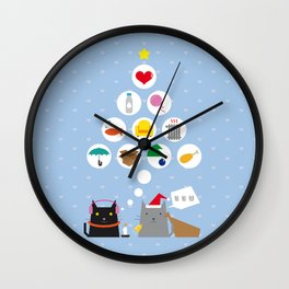 Santa Cat Wall Clock