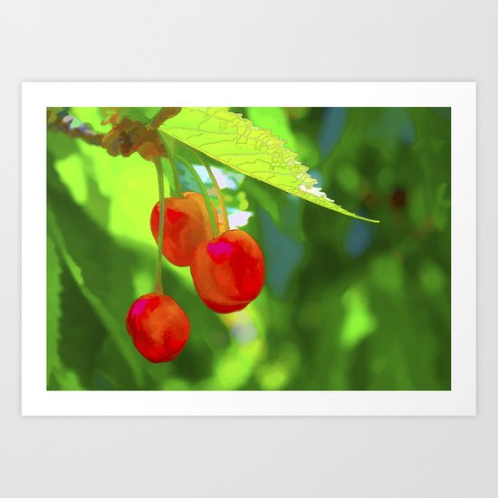 Red Cherries Painting Art Print