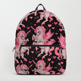Pink Unicorn Pegasus on Black Backpack