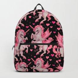 Pink Unicorn Pegasus on Black Backpack