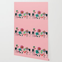 Mid century flowers pink Wallpaper