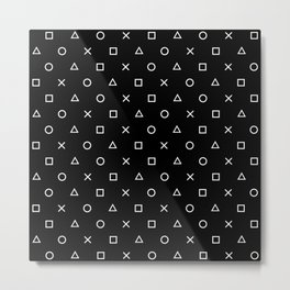 Gamer Pattern (White on Black) Metal Print
