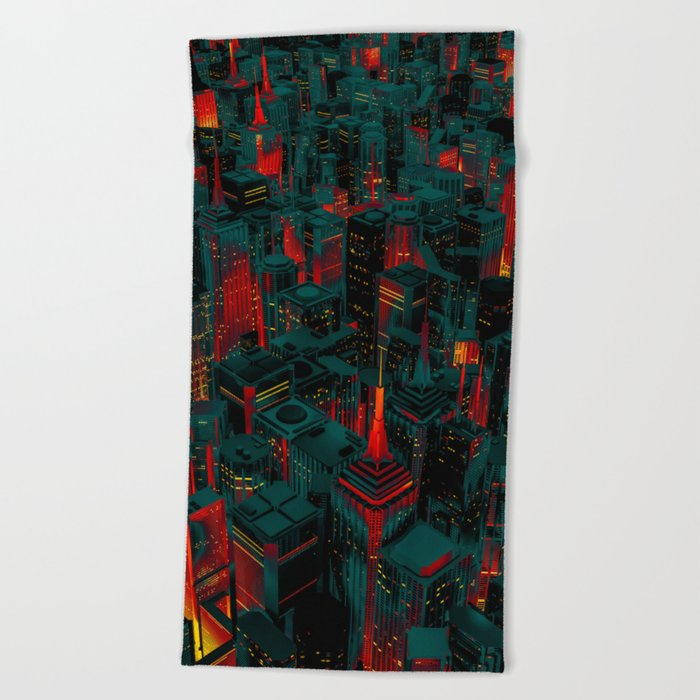 Night city glow cartoon Beach Towel