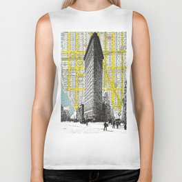 Flatiron Building - NYC Map Background Landmark urban city decor Biker Tank