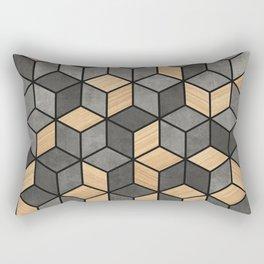 Concrete and Wood Cubes Rectangular Pillow