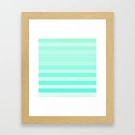 Green Teal Stripe Fade Framed Art Print