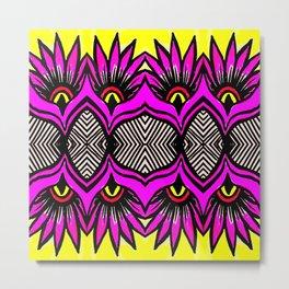 Modern Purple Flowers Pattern Metal Print