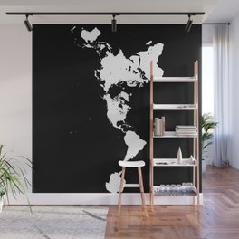 Dymaxion World Map (Fuller Projection Map) - Minimalist White on Black Wall Mural