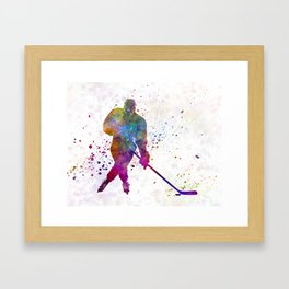 Hockey man player 03 in watercolor Framed Art Print