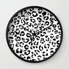 Modern black white marble stylish leopard pattern Wall Clock