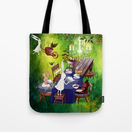 Bunny Tea Party in forest Tote Bag
