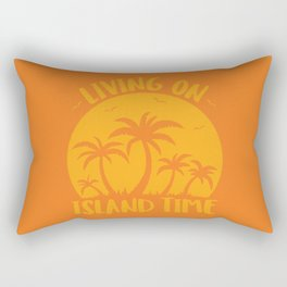 Living On Island Time Palm Trees And Sunset Rectangular Pillow