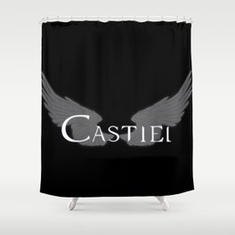 Castiel with Wings White Shower Curtain