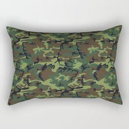 Green and Brown Camouflage Pattern Rectangular Pillow