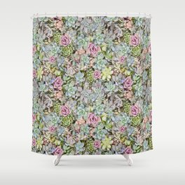 Succulent Pastel Shower Curtain