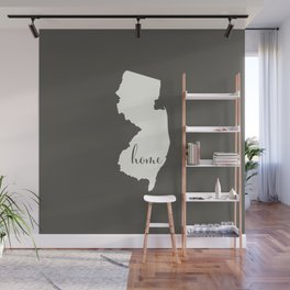 New Jersey is Home - White on Charcoal Wall Mural