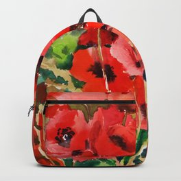 Red Poppies red floral pattersn texture poppy flower design Backpack