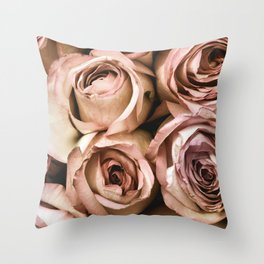 Roses in Peach Throw Pillow