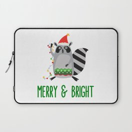 Merry & Bright Racoon with Christmas Lights Laptop Sleeve