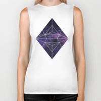 cosmic Biker Tanks featuring Cosmic by Marta Olga Klara