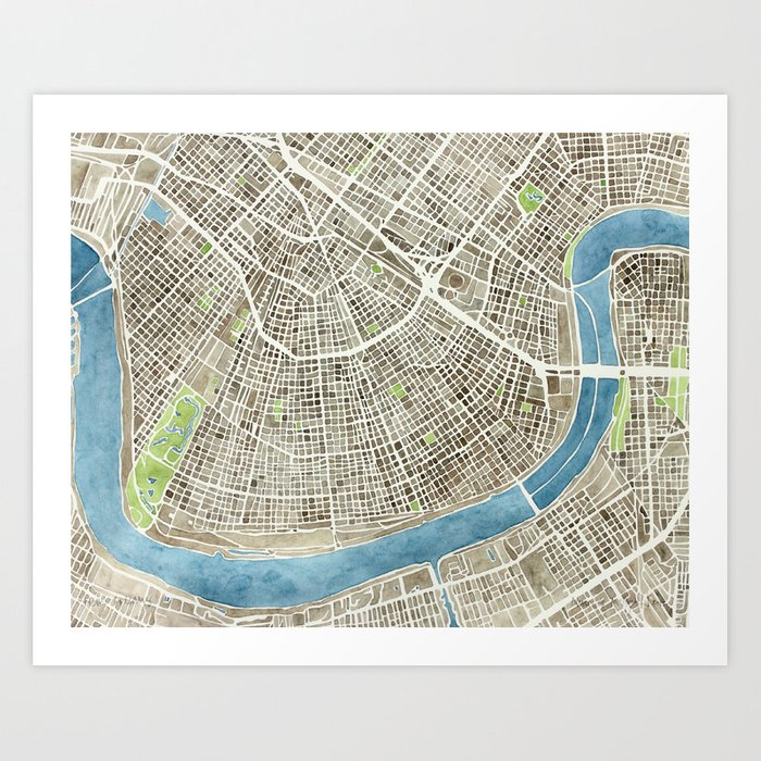 New Orleans City Map Art Print by aemcdraw | Society6 on