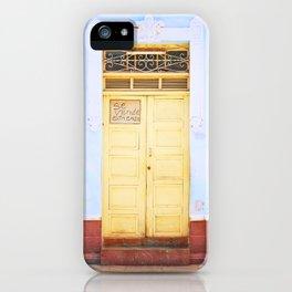 92. Yellow Door and Blue Wall, Cuba iPhone Case