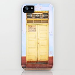 82. Yellow Door and Blue Wall, Cuba iPhone Case