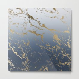 Modern grey navy blue ombre gold marble pattern Metal Print