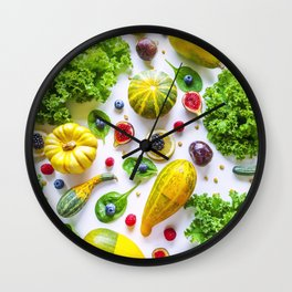 Fruits and vegetables pattern (1) Wall Clock