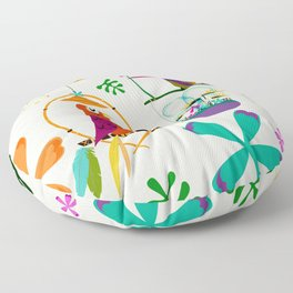 Vintage Modern Tiki Birds Floor Pillow