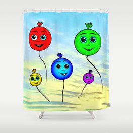 Happy colorful balloons flying in the sky Shower Curtain