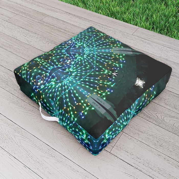 Kaleidoscope fantasy on lighted peacock shape Outdoor Floor Cushion
