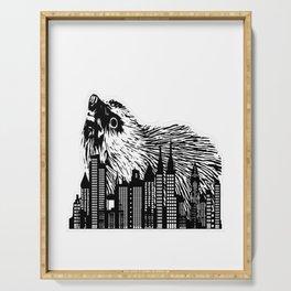 black hedgezilla hedgehog hedgehog skyline big sweet Serving Tray