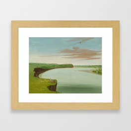 George Catlin - Distant View of the Mandan Village Framed Art Print