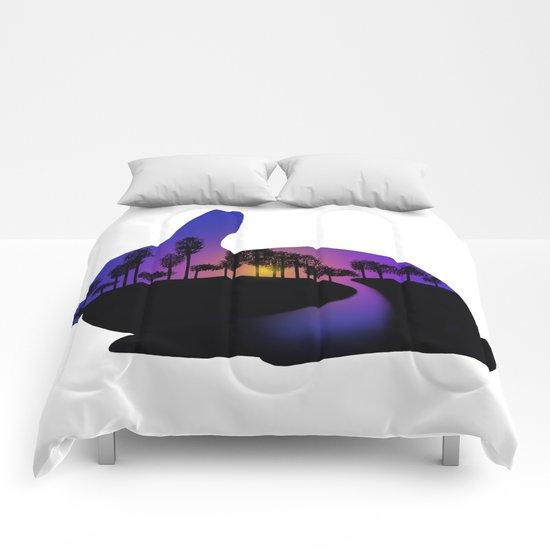 Sunset Rabbit  Comforters
