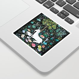 The Unicorn is Reading Sticker