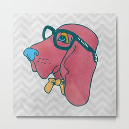 Rufus the Intelligent Geek Hound Metal Print