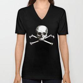 Skull and Crossbones   Jolly Roger Unisex V-Neck