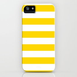 Horizontal Stripes - White and Gold Yellow iPhone Case