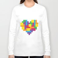 tetris Long Sleeve T-shirts featuring Tetris Heart by Shannon's Sketchfest