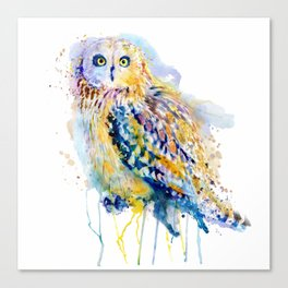 Short Eared Owl Watercolor painting Canvas Print