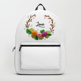 Hand Embroidery Ribbon Flowers Wreath - Love Backpack