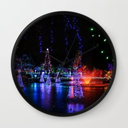 frozen pond lights Wall Clock