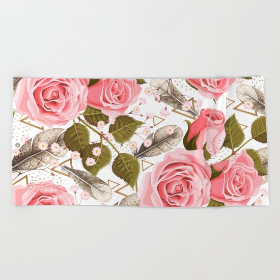 flowers with feathers Beach Towel