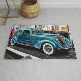 Vintage 1934 Hupmobile Aerodynamic Painting Rug