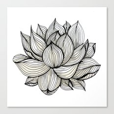 Lotus Flower, Black and white, Nature, Organic design, drawing, abstract, unique, lines, pattern, Canvas Print