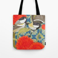 tits Tote Bags featuring Coal Tits and Chrysanthemums by Divya Venkatesh